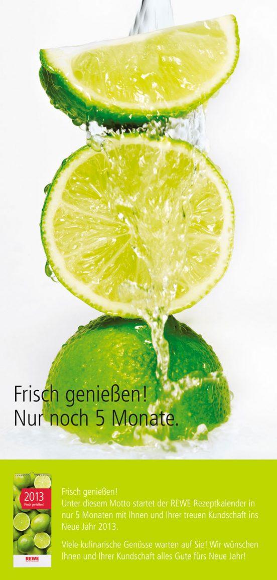 Limetten frisch genießen – die Anzeige für den REWE-Kalender 2013. Fotograf: Jörg Saibou, Köln.