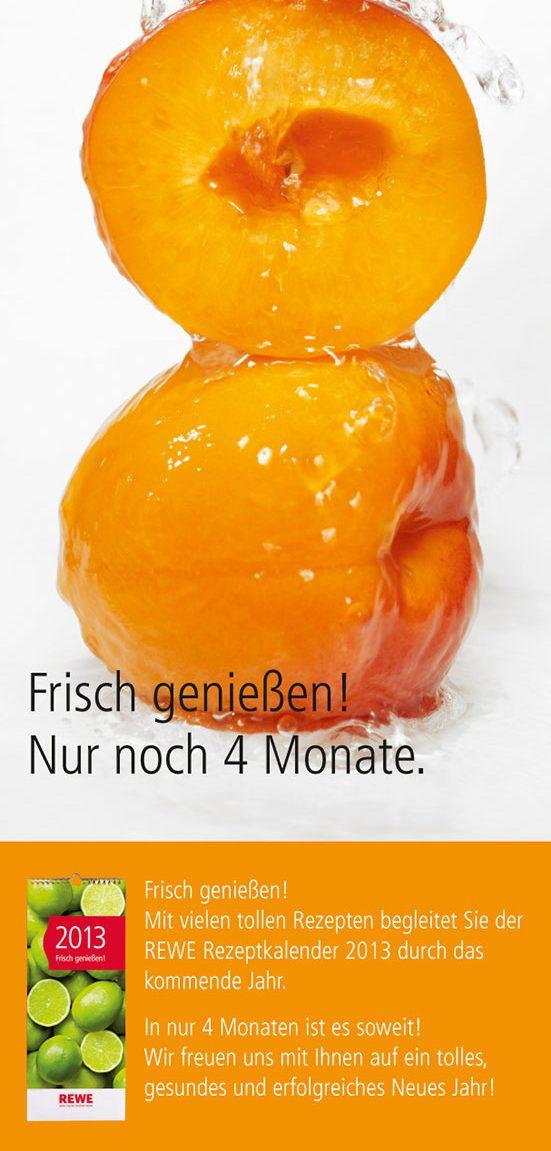 Aprikosen frisch genießen – die anzeige für den REWE-Kalender 2013. Fotograf: Jörg Saibou, Köln.